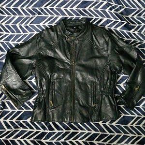 Diamond Plate black leather jackeg